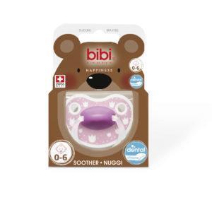 BIBI, Smoczek uspokajający ortodontyczny, Lovely Dots, różowy 0-6m