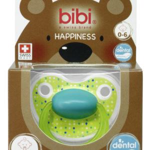 BIBI, Smoczek uspokajający ortodontyczny, Lovely Dots, zielony, 0-6m