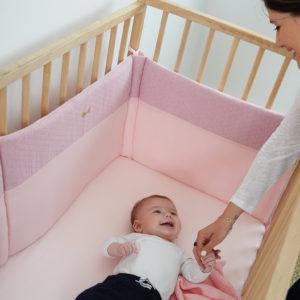 Ochraniacz do łóżeczka 180x40cm Różowy