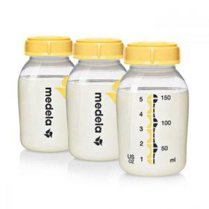 Zestaw Wielorazowych butelek do przechowywania, mrożenia i podawania pokarmu 150ml  3szt