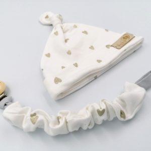 Baby in World Czapka Niemowlęca Smerfetka Ecru Serca 0-3 mc