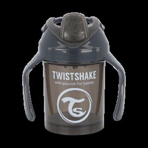 Twistshake, kubek niekapek, z uchwytami i mikserem Mini Cup Black 230 ml