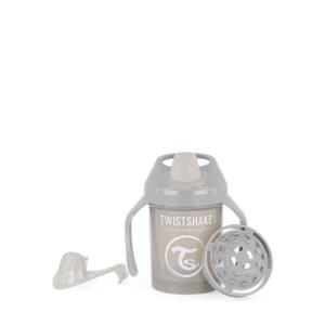 Twistshake, kubek niekapek, z uchwytami i mikserem Mini Cup Pastel Grey 230 ml