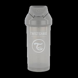Twistshake, Bidon ze słomką Straw Cup Pastel Grey 360 ml