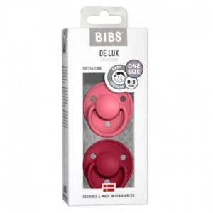 BIBS  Smoczek uspokajający silikonowy DE LUX ONE SIZE 2- PACK CORAL & RUBY