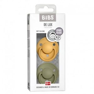 BIBS  Smoczek uspokajający silikonowy DE LUX ONE SIZE 2- PACK HONEY BEE & OLIVE