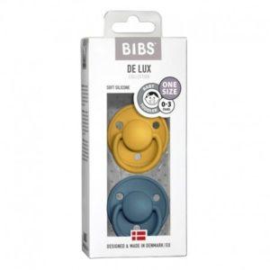 BIBS  Smoczek uspokajający silikonowy DE LUX ONE SIZE 2- PACK MUSTARD & PETROL