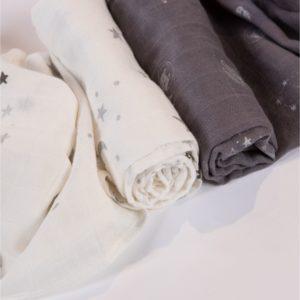 Minene Pieluszka Bambusowa 60×75 cm Duo Pack Szary/Biały