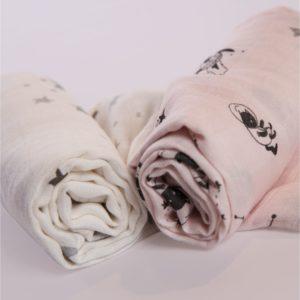 Minene Pieluszka Bambusowa 60×75 cm Duo Pack Różowy/Biały